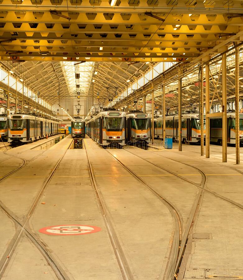 Trams depot, public transport infrastructure royalty free stock photos