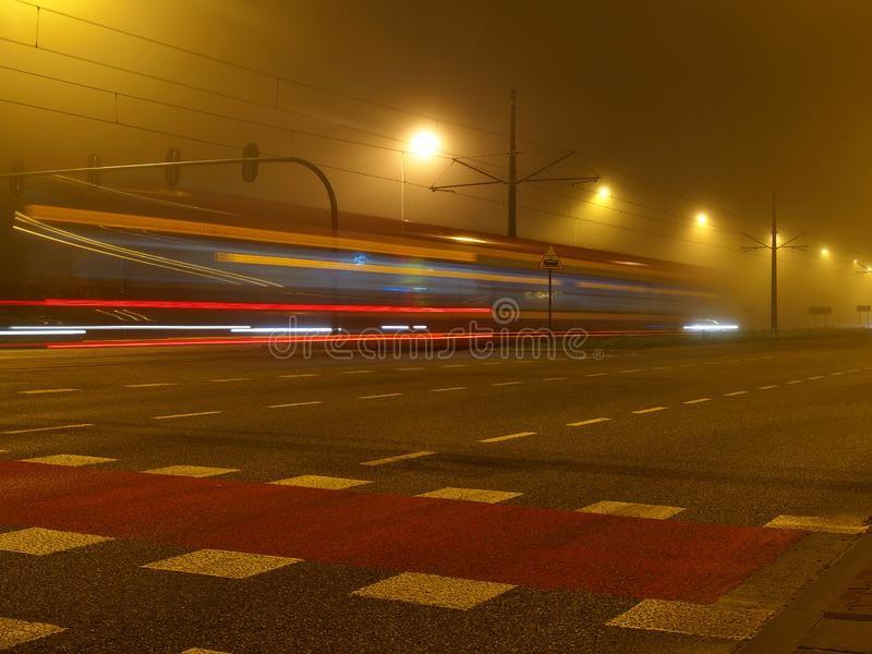 Trams in the fog. stock image