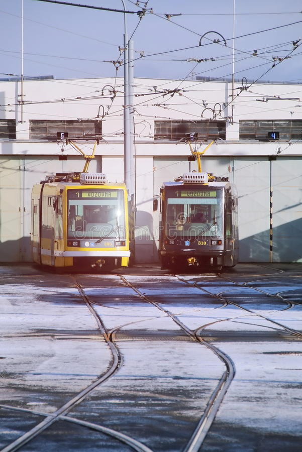 Trams stock images