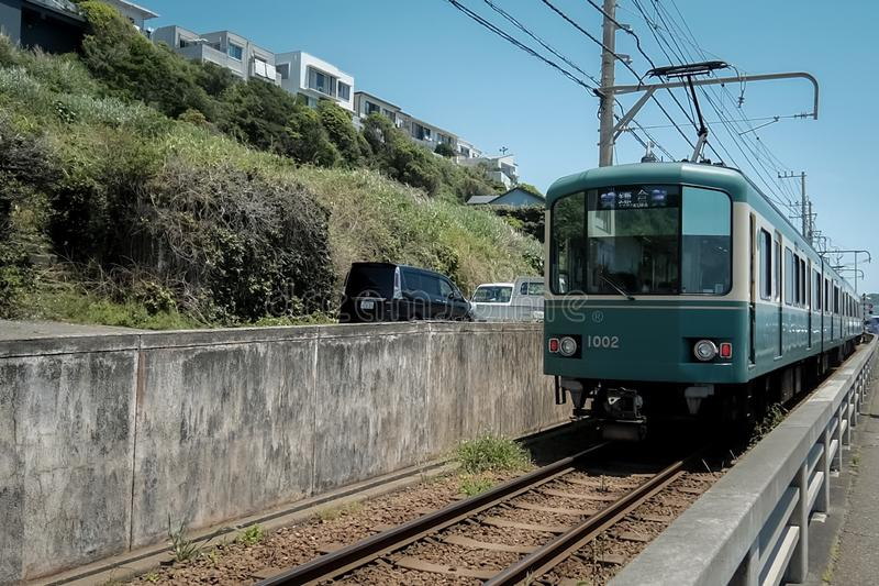 Trams in Kamakura lizenzfreies stockbild