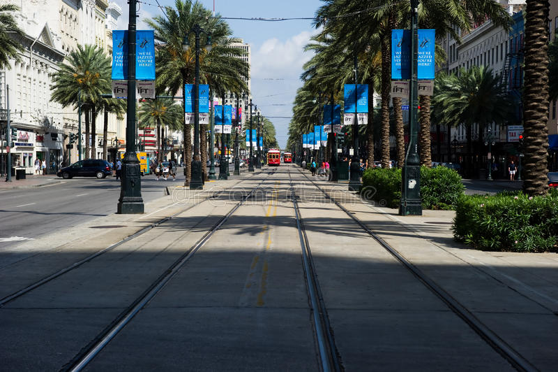 Trams op Canal Street in New Orleans stock fotografie