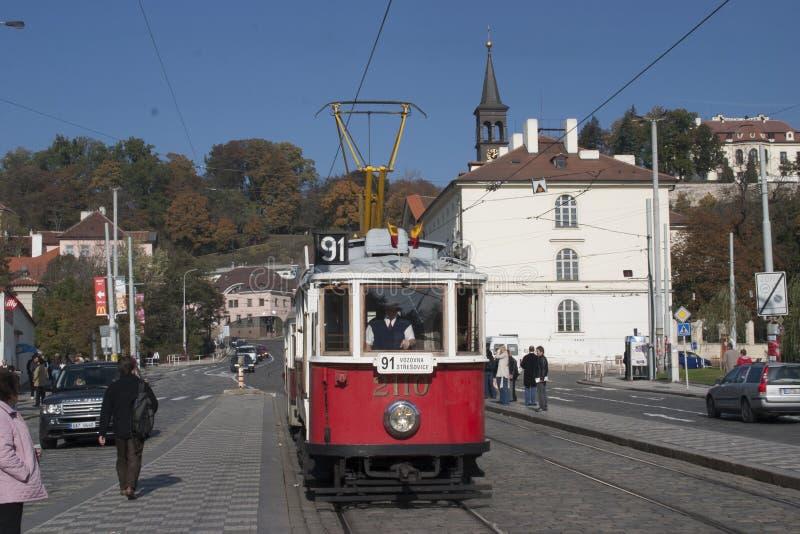 Trams in Praag royalty-vrije stock foto