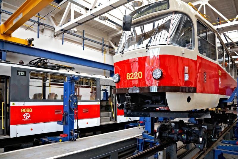 Trams In Workshops In Depot Hostivar, Prague Editorial Stock Photo