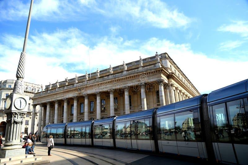 Tramspoor in de stad van Bordeaux FRANKRIJK royalty-vrije stock afbeelding