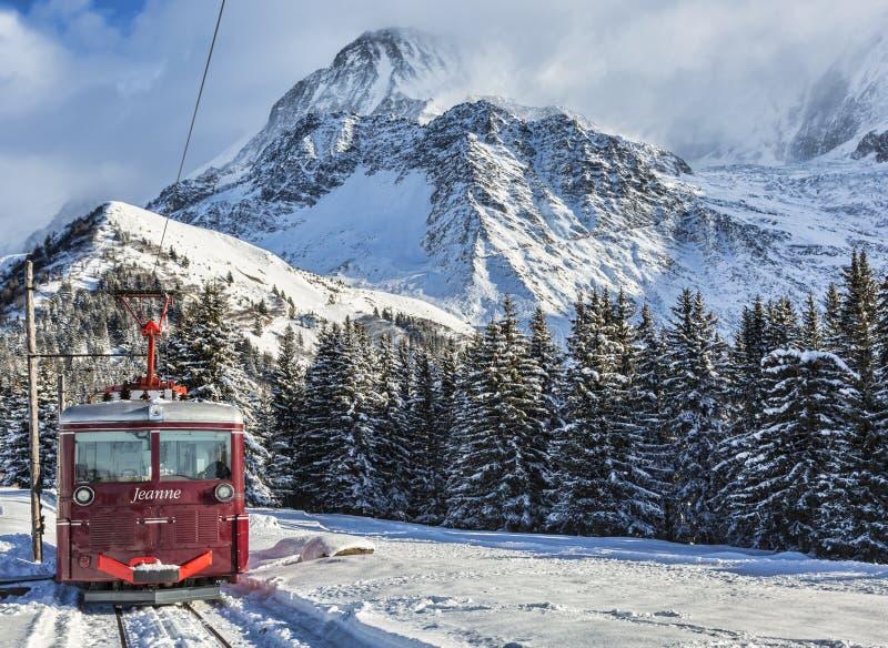 Tramspoor du Mont Blanc stock fotografie