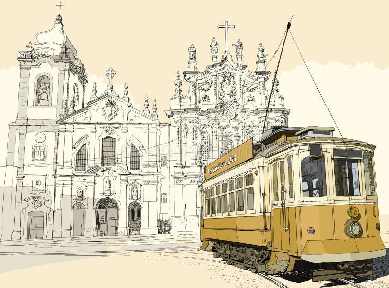 Tramspoor in Porto stock illustratie