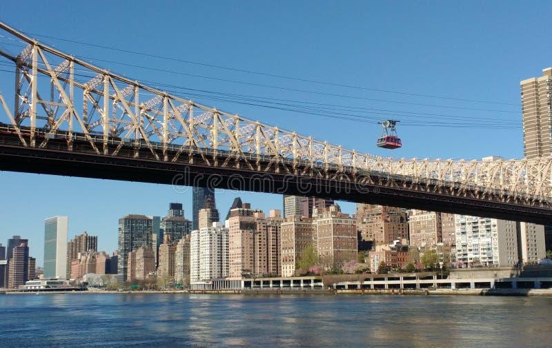 Tramspoor, Roosevelt Island Tramway, NYC, NY, de V.S. stock foto