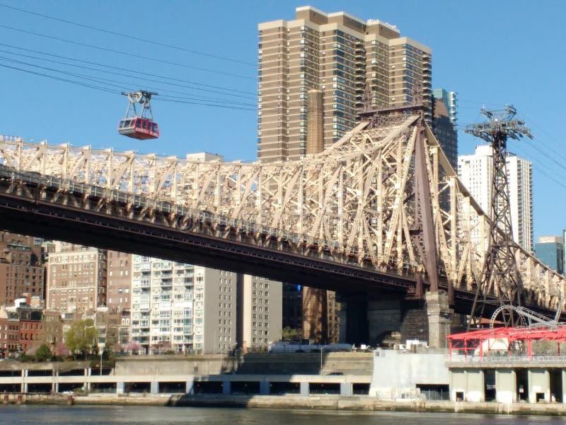 Tramspoor, Roosevelt Island Tramway, NYC, NY, de V.S. royalty-vrije stock afbeeldingen