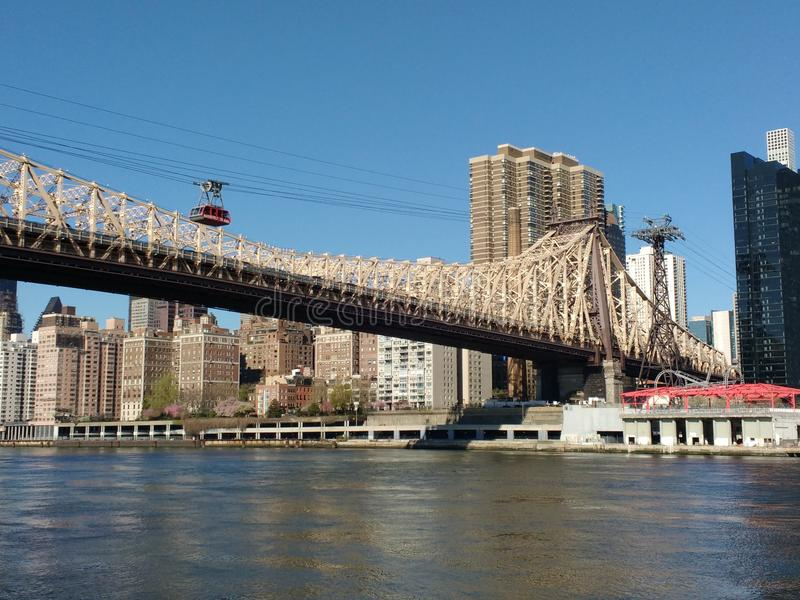 Tramspoor, Roosevelt Island Tramway, NYC, NY, de V.S. stock afbeelding