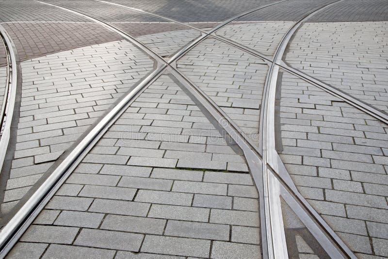 Tramspoor in Rotterdam, Holland, stock afbeelding