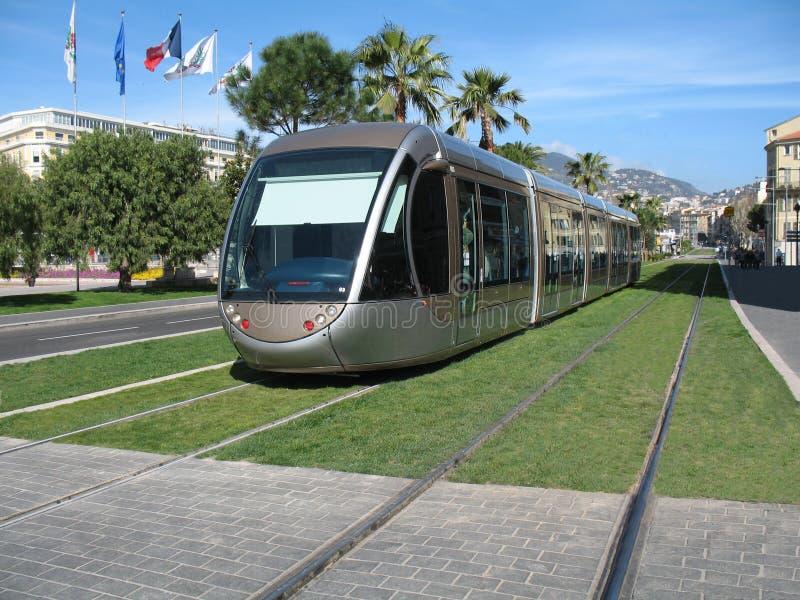 Tramspoor in stad van Nice royalty-vrije stock foto's