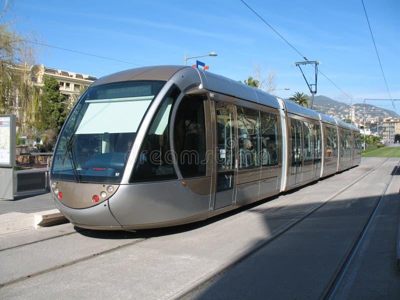 Tramspoor in stad van Nice stock fotografie
