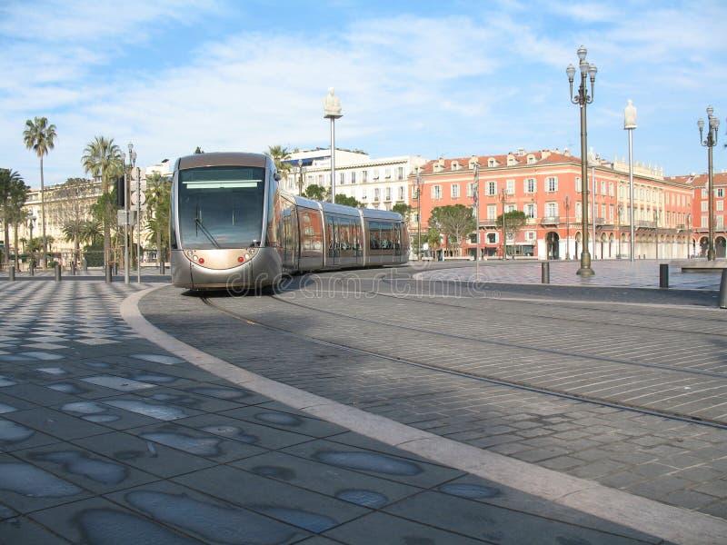 Tramspoor in stad van Nice stock afbeelding