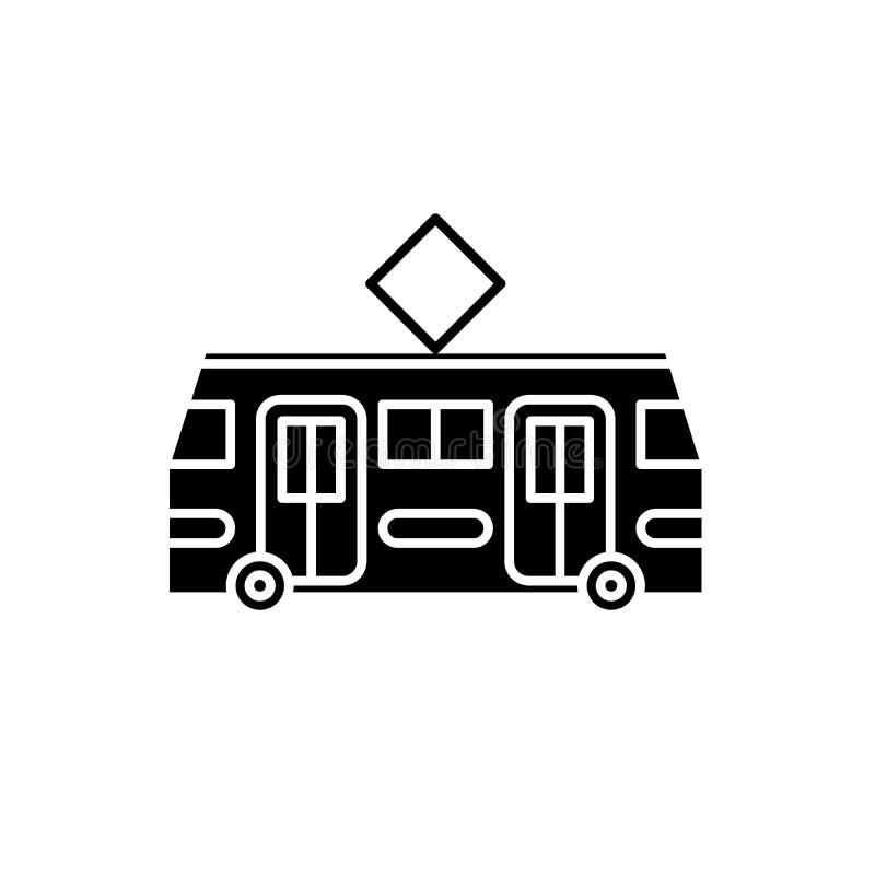 Tramspoor zwart pictogram, vectorteken op geïsoleerde achtergrond Het symbool van het tramspoorconcept, illustratie stock illustratie