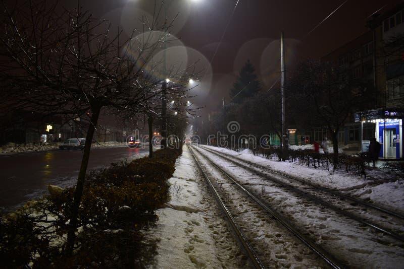 Tramsporen stock foto