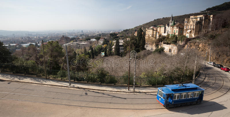 tramvia blau cable car barcelona spain royalty free stock photography