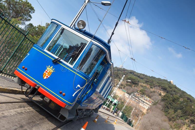 tramvia blau cable car barcelona spain stock photography