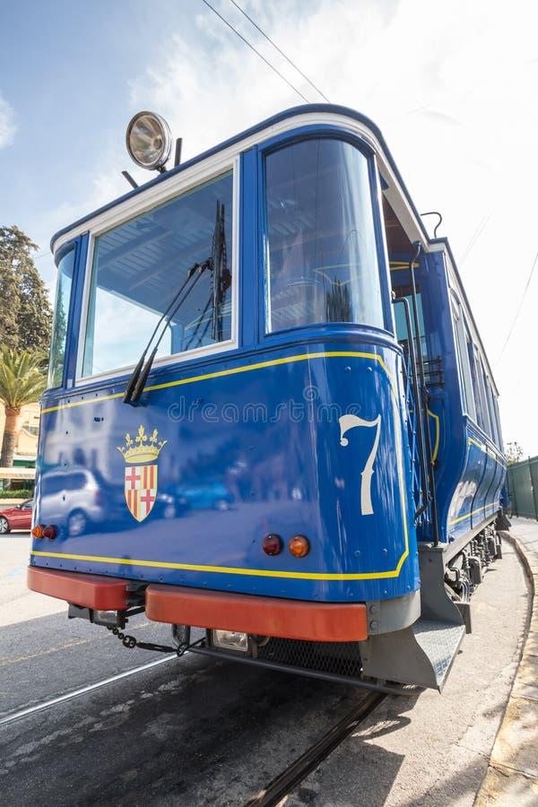 tramvia blau cable car barcelona spain stock photo