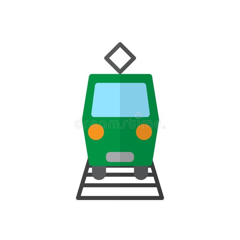 Tramwaj, miasto samochodowa płaska ikona, wypełniający wektoru znak, kolorowy piktogram odizolowywający na bielu royalty ilustracja