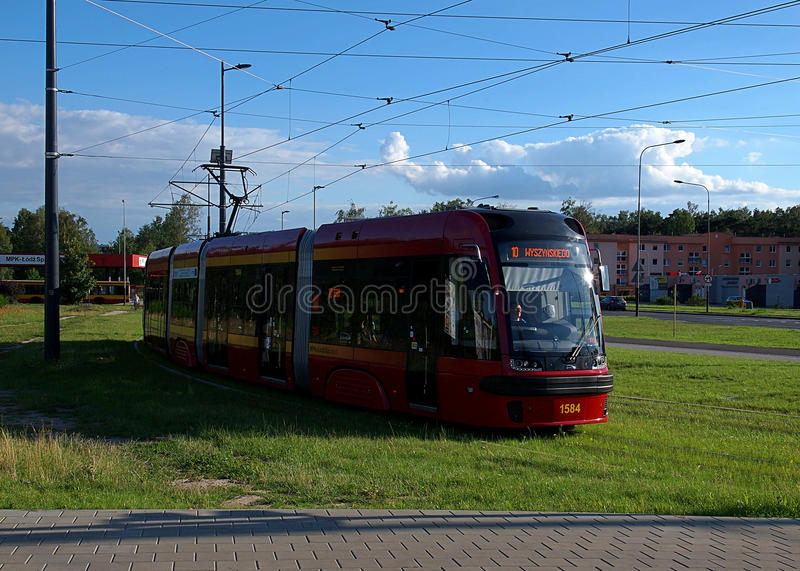 Tramwaj od Łódzkiego zdjęcie stock