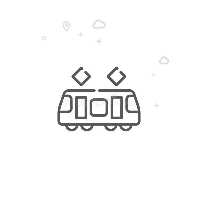 Tramwaj, Uliczna Samochodowa wektor linii ikona, symbol, piktogram, znak Lekki abstrakcjonistyczny geometryczny tło Editable uder ilustracja wektor