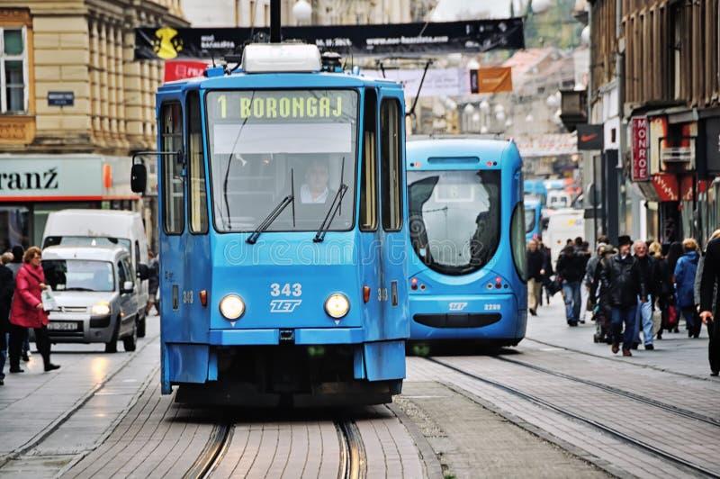 Tramwaj w Zagreb, Chorwacja obraz royalty free