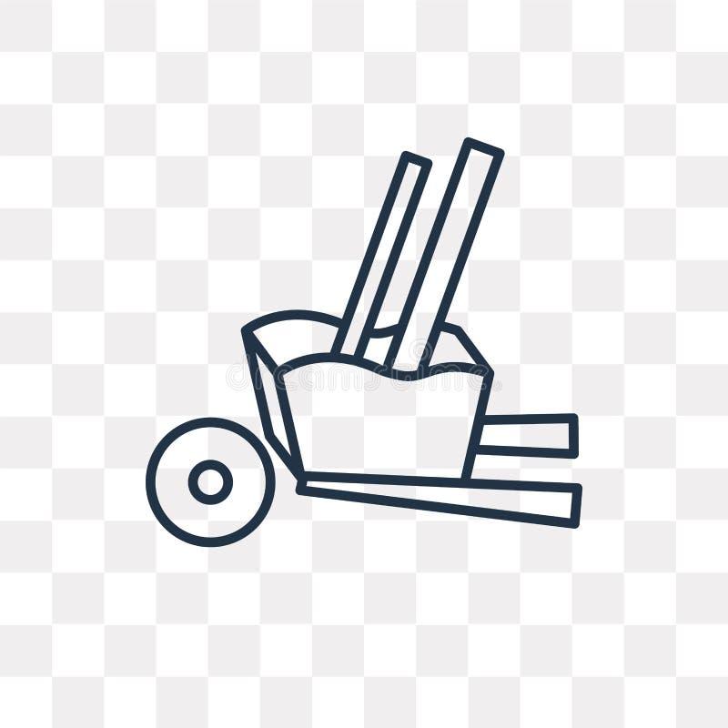 Tramwaj wektorowa ikona odizolowywająca na przejrzystym tle, liniowy T ilustracji