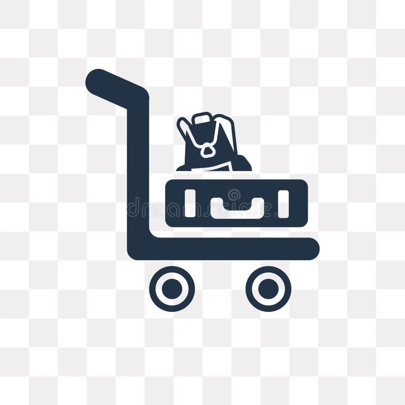 Tramwaj z bagaż wektorową ikoną odizolowywającą na przejrzystym backgro ilustracja wektor