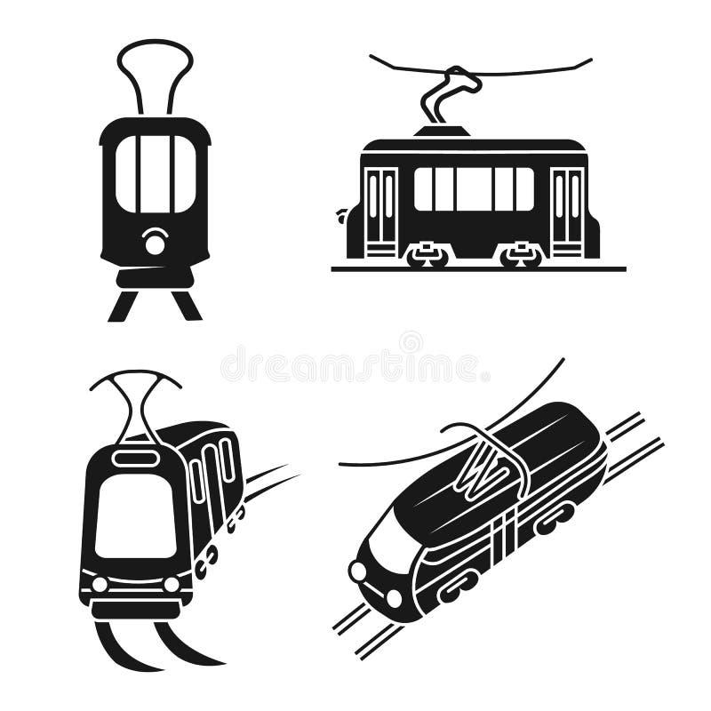 Tramwajowe samochodowe ikony ustawiać, prosty styl ilustracji