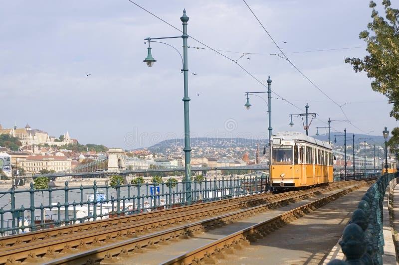tramwajowy Budapest kolor żółty fotografia royalty free