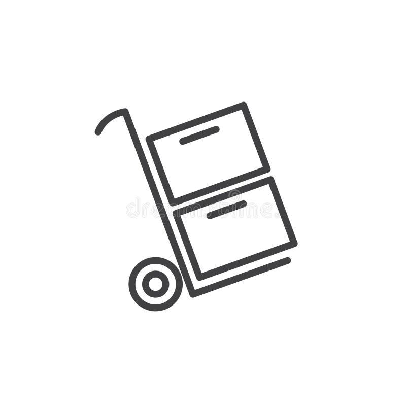 Tramwaju przewożenia pudełek kreskowa ikona royalty ilustracja