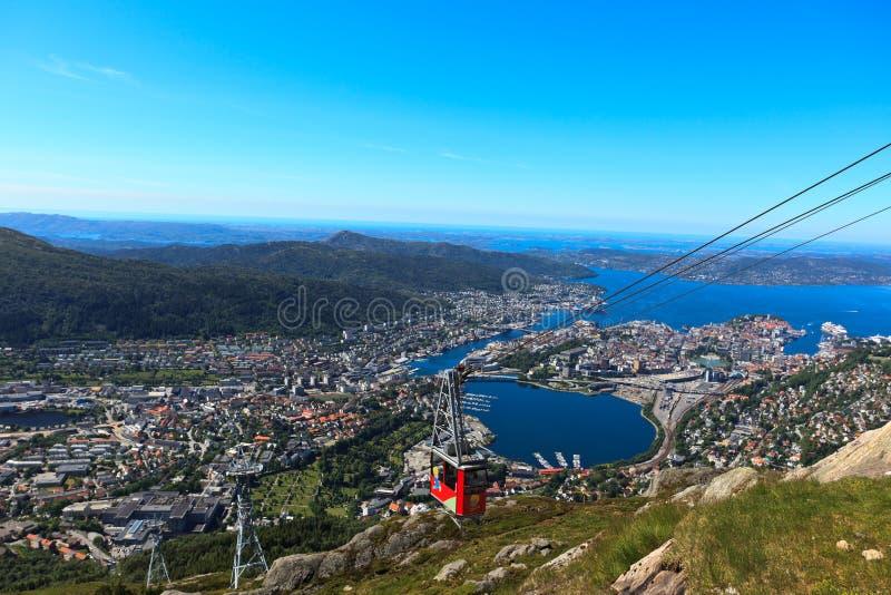 Tramway aéreo de Ulriken em Bergen fotos de stock royalty free