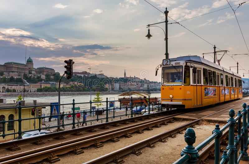 Tramway in Budapest royalty free stock images