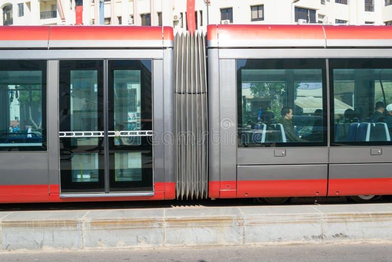 Tramway in Casablanca close up royalty free stock photos