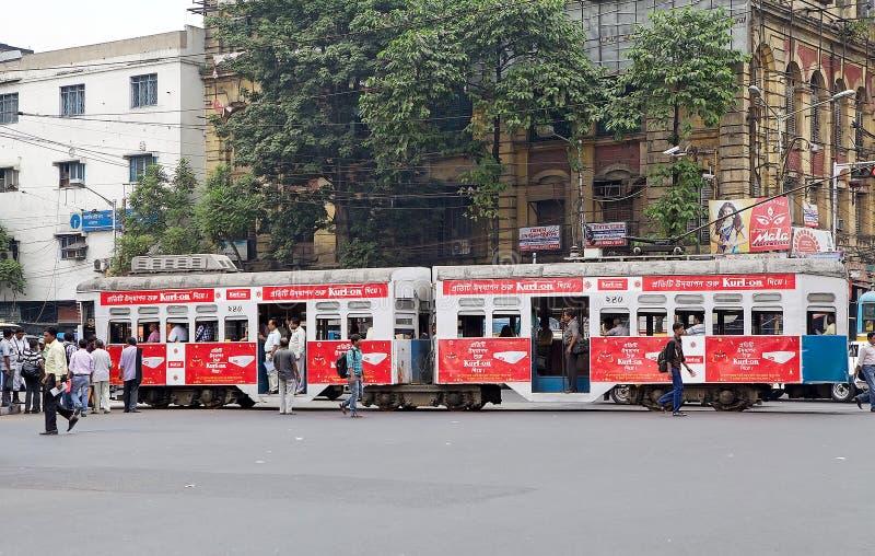 Tramway dans Kolkata, Inde photo libre de droits