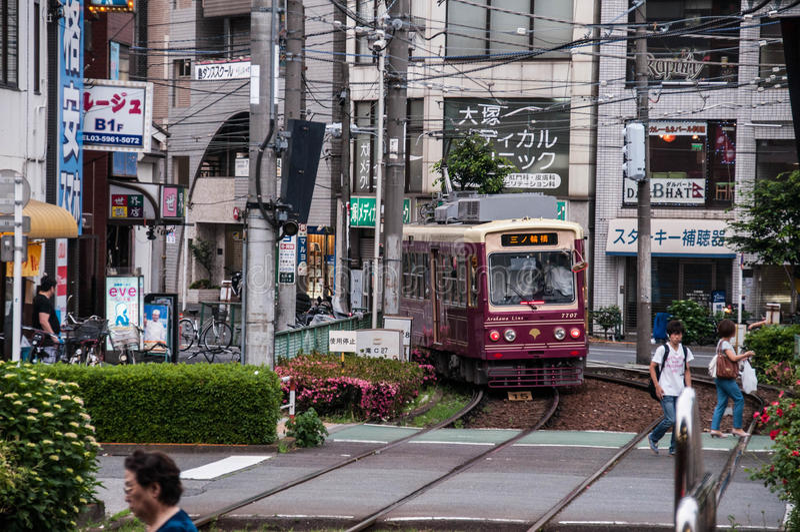 Tramway de Toden Arakawa photographie stock libre de droits