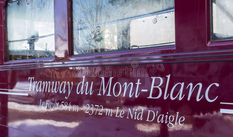 Tramway du Mont Blanc Inscription. Saint-Gervais, France - December 30,2014: Close-up of the inscription `Tramway du Mont Blanc` on a railway wagon of the tram stock photo