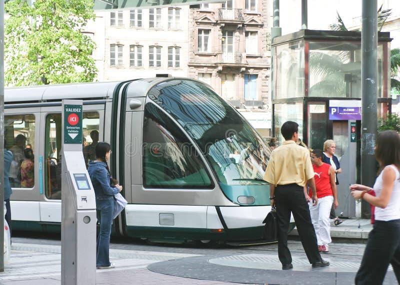 Tramway em Strasbourg, France imagens de stock royalty free