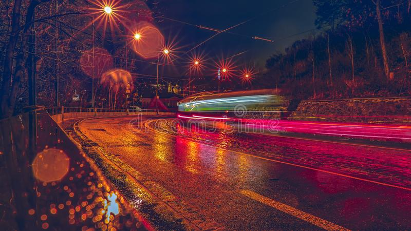 Tramway in the evening Prague. Tramway in the rainy evening Prague, Czech Republic royalty free stock photography