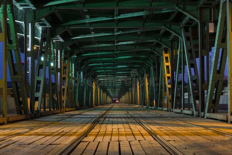 Tramway in the Gdanski Bridge in Warsaw. Tramway in the lower part of the steel truss Gdanski Bridge in Warsaw, Poland stock photo