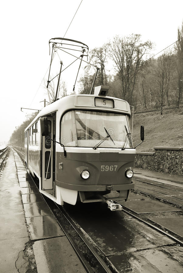 Tramway in Kiev, Ukraine (sepia) stock photography