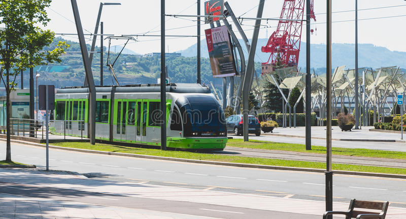 Tramway leaving a station in the city of Bilbao, Spain royalty free stock image