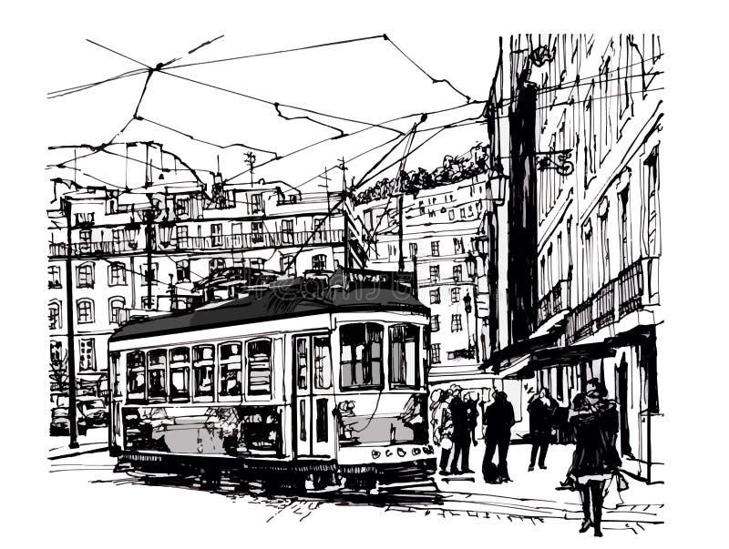 Tramway in lisbon vector illustration