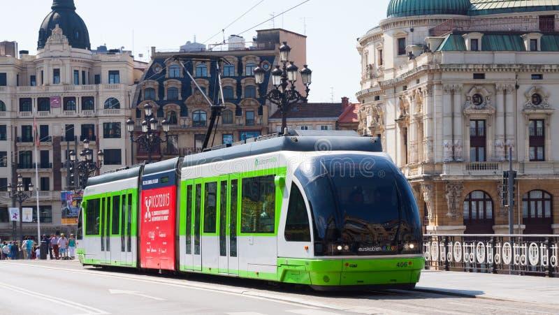 Tramway ordinaire à Bilbao l'espagne images libres de droits