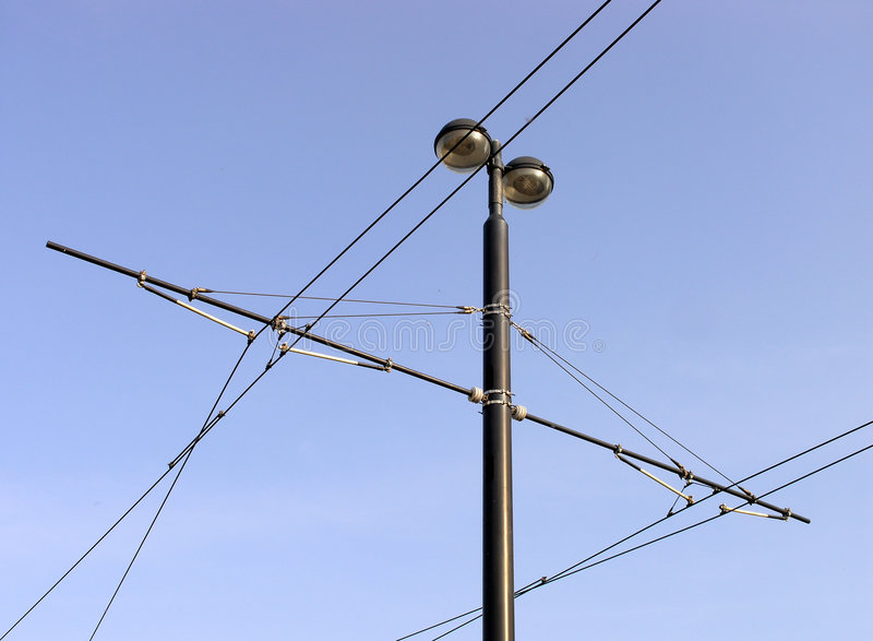 Download Tramway overhead cables stock image. Image of infrastructure - 7450293