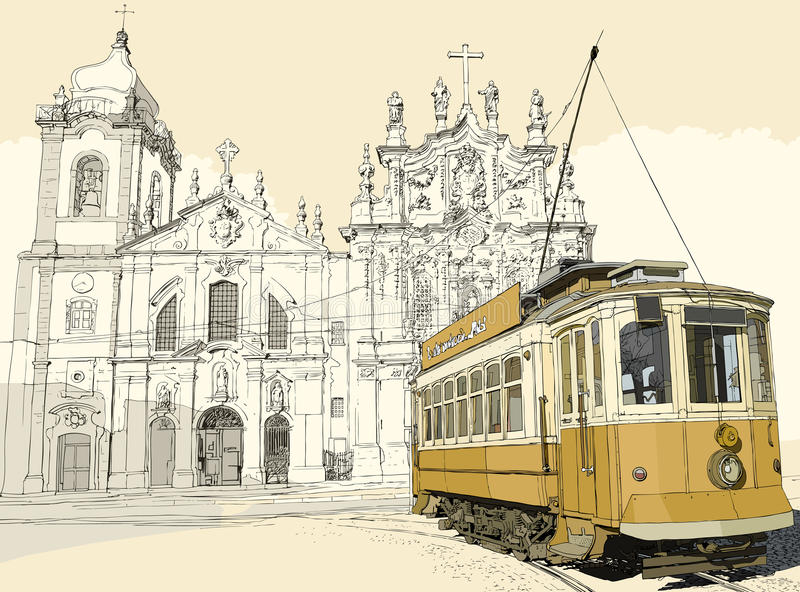 Download Tramway in Porto stock vector. Image of tramway, city - 19857223
