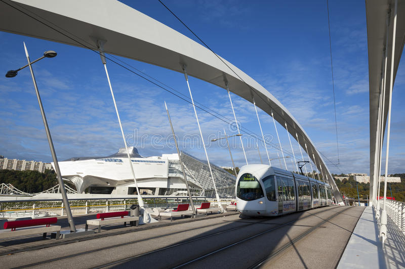 Tramway on Raymond Barre bridge. LYON, FRANCE, october 8, 2015 : Musee des Confluences and Raymond Barre bridge with tramway at Lyon, France, Europe stock images