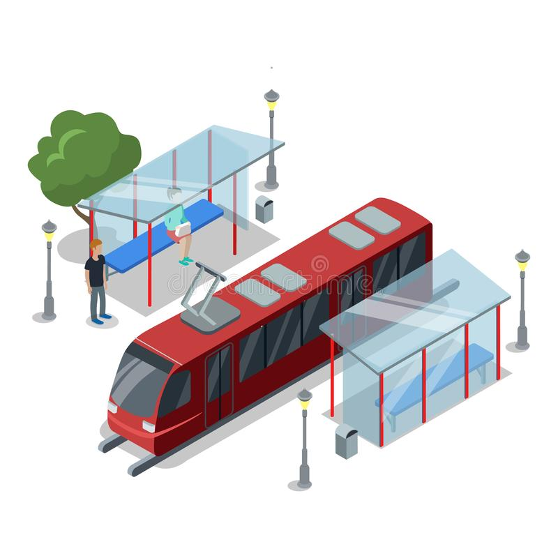 Tramway stop isometric 3D icon stock illustration