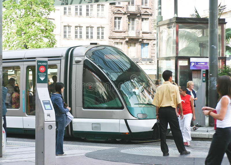 Tramway at Strasbourg, France royalty free stock images