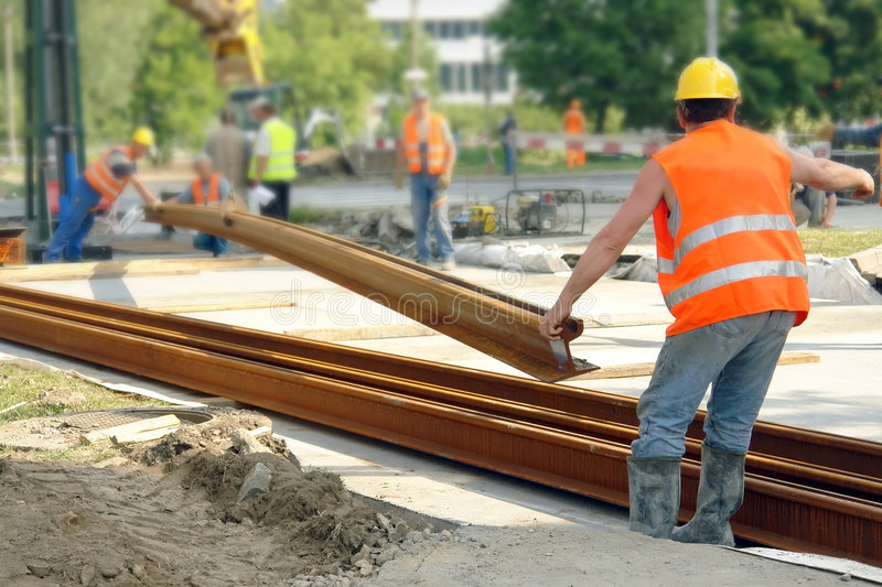 Tramway track construction royalty free stock photography